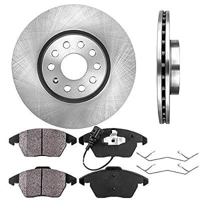 CRK11742 FRONT 312 mm Premium OE 5 Lug [2] Brake Disc Rotors + [4] Ceramic Brake Pads + Clips: Automotive