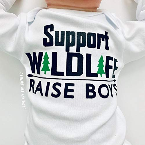 Newborn Support Wildlife Raise Boys, Funny Baby Clothes, Long Sleeve, White, Up to 12.5 lbs