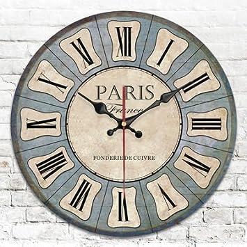 Y-Hui Retro relojes decorativos de jardín de madera Reloj de pared en el Salón, el dormitorio y los modelos de 16 pulgadas G: Amazon.es: Hogar