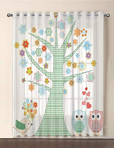 One Panel Extra Wide Sheer Voile Patio Door Curtain,Nursery,Romantic Owls In Love and Big Tree with Colorful Blossoms Bird Bouquet Decorative,Mint Green Multicolor,for Sliding Doors(108