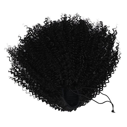 Beauty : #1 Color Afro Puff Synthetic Kinky Curly Drawstring Ponytails Extensions for African American3C 4A Wrap Pony Tail Kinky Curly Hairpieces Afro Kinky Curly Ponytail Top Closure with Combs