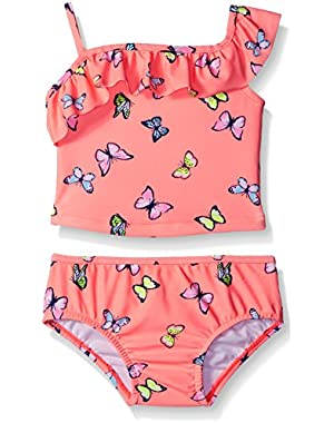 Baby Girls' Two Piece One Shoulder Butterfly Tankini
