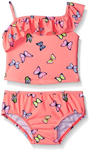 Carter's Baby Girls' Two Piece One Shoulder Butterfly Tankini, Peach, 12 Months