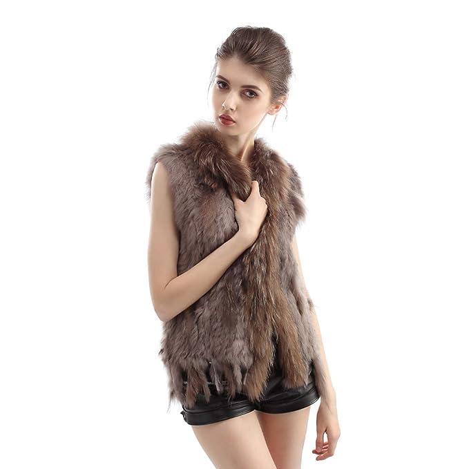 Vemolla Abrigo tejido de la piel de conejo auténtico para mujer con ribete de la piel de mapache: Amazon.es: Ropa y accesorios