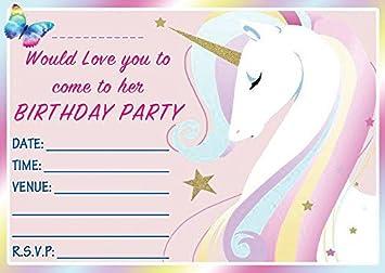 Unicorn Birthday Party Invitations Girls Birthday Invites Ready to Write with