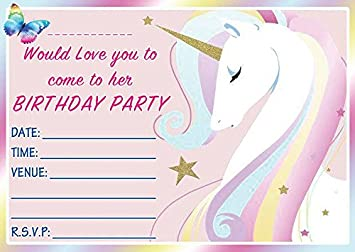 EBSR UNICORN THEMED PINK BIRTHDAY PARTY INVITES INVITATIONS X 10 PACK ENVELOPES