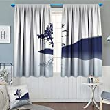 lacencn Nature Patterned Drape For Glass Door Silhouette of Lonely Tree by Lake with Mirror Effects Melancholy Illustration Waterproof Window Curtain 52''x63'' Indigo Baby Blue