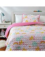 Amazon Basics Kids Unicorn Castle 100% Cotton Reversible Quilt Bedspread - Full/Queen, Unicorn/Bubblegum Pink