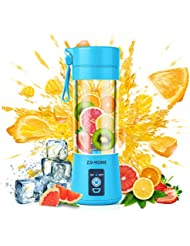 Portable Blender,Zjj-Home Smoothie Blender-Six Blades in 3D, Mini Travel Personal Blender with USB Rechargeable Batteries,Household Fruit Mixer,Detachable Cup,USB Juicer Cup (FDA BPA free) (blue)
