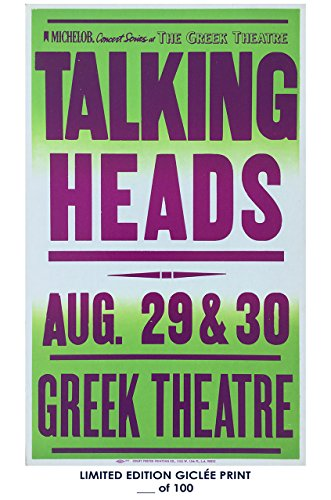 Rare Poster thick Talking Heads concert 1980s greek theatre Reprint #'d/100!