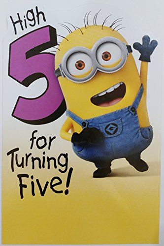 5th Birthday Card (High 5 for Turning Five! Despicable Me Minion Happy 5th Birthday Greeting Card)