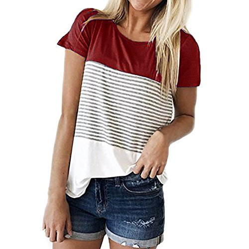 TOPUNDER Casual Stripe Triple T-Shirt Women Short Sleeve Color Block Blouse Red