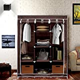 KRISHYAM Fancy and Portable Foldable Almirah Wardrobe with 6 Cabinet and 2 Long Shelves Clothes Organizer(Brown)
