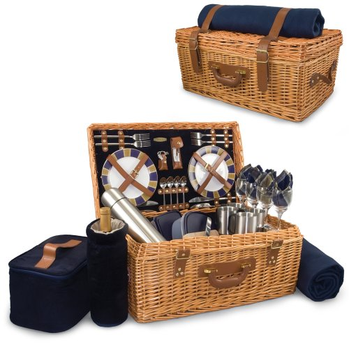 Basket English Style - Picnic Time Windsor English-Style Willow Picnic Basket with Deluxe Service for 4