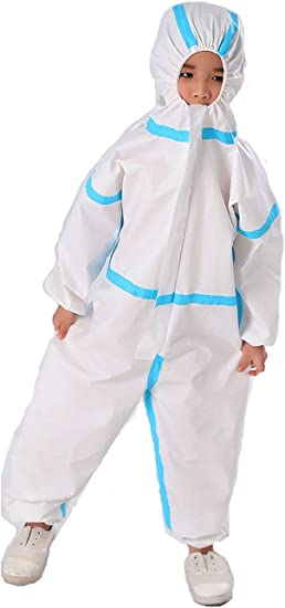 Disposable Coverall with Hood Medical Protective Suit Factory Hospital Safety Clothing White 180//XXXL, White