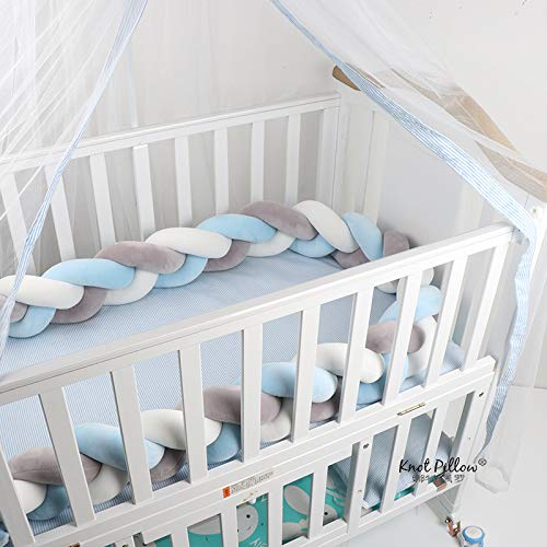 Lion Paw Crib Bumper Pillow Cushion 78.7in Crib Sides Protector Infant Cot Rails Newborn Gift Knotted Braided Plush Nursery Cradle Decor (White-Blue-Gray 78.7in)