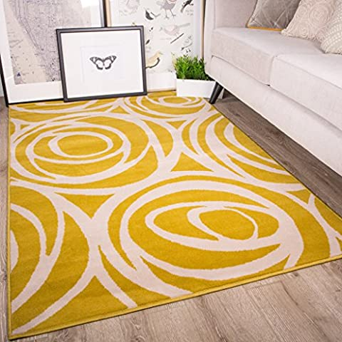 Milan Ochre Mustard Yellow Grey Beige Floral Contemporary Roses Traditional Living Room Rug 3'11
