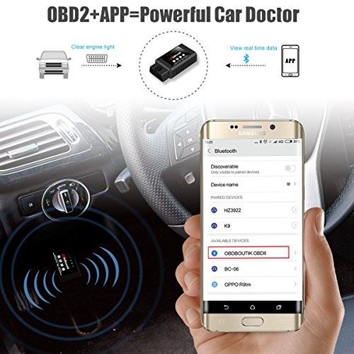 OBDII Bluetooth OBDBOUTIK OD132 Check Engine Light Diagnostic Code Reader OBD2 ELM327 Bluetooth Car Diagnostic Tool For Android Torque well-wreapped