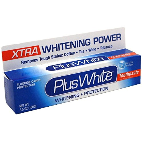 Plus White Whitening + Protection Toothpaste, Xtra Whitening Power Cool & Crisp Mint 3.50 oz (Pack of 3) - Whitening Toothpaste Cool Mint