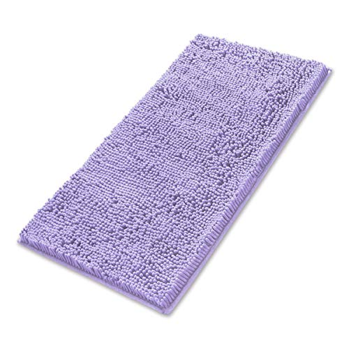 (MAYSHINE 24x39 inch Non-Slip Bathroom Rug Shag Shower Mat Machine-Washable Bath mats with Water Absorbent Soft Microfibers of - Lavender )