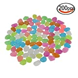 Glow in the Dark Garden Stones Luminous Decorative Pebbles for Fantastic Garden or Yard Outdoor Fish Tank in Colorful Color 200Pcs