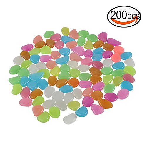 Glow in the Dark Garden Stones Luminous Decorative Pebbles for Fantastic Garden or Yard Outdoor Fish Tank in Colorful Color 200Pcs by Doen