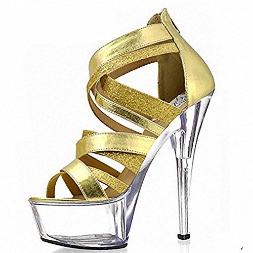 SYYAN Summer Fashion Leder wasserdicht Hohlsuperkristallstöckel Gold Flash Powder Damen Sandalen , gold , 42