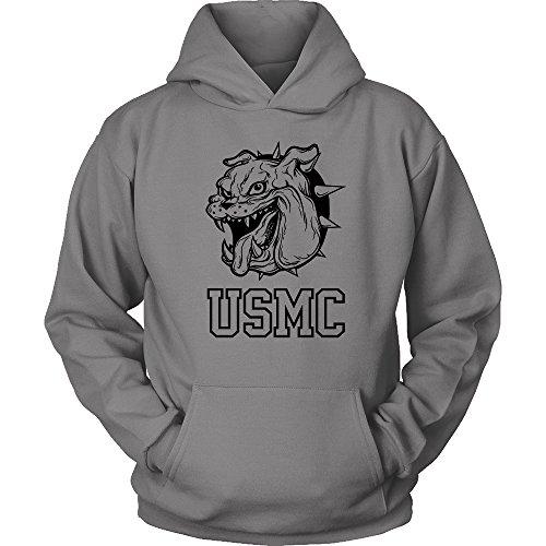 Marines Logo Sweatshirt (Egoteest USMC Hoodie - Marine Corps USMC Sweatshirt Hoodie - Marines Bulldog Logo Hoodie - US Army Shirt - Special Forces (Grey, XLarge))