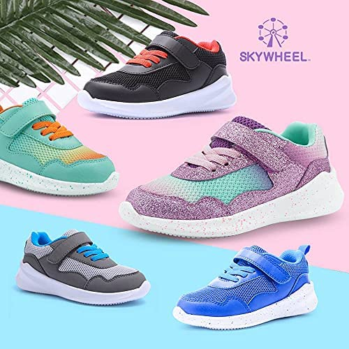 51GT8kKPbhS. AC SKYWHEEL Toddlers/Little Kids Cute/Cool Sequins/Bright Shoes Breathable Strap Athletic Running/Walking Sports Sneakers for Boys & Girls    【Skywheel Size Chart】 5 Toddler = US Size 5 = Insole Length 13.5 cm = Fit Foot Length 12.7 cm/ 5.0 in 6 Toddler = US Size 6 = Insole Length 14.5 cm = Fit Foot Length 13.5 cm/ 5.3 in 7 Toddler = US Size 7 = Insole Length 15.2 cm = Fit Foot Length 14.4 cm/ 5.7 in 8 Toddler = US Size 8 = Insole Length 16.1 cm = Fit Foot Length 15.2 cm/ 6.0 in 9 Toddler = US Size 9 = Insole Length 16.9 cm = Fit Foot Length 16.0 cm/ 6.3 in 10 Toddler = US Size 10 = Insole Length 17.7 cm = Fit Foot Length 16.9 cm/ 6.7 in 11 Little Kid = US Size 11 = Insole Length 18.6 cm = Fit Foot Length 17.7 cm/ 7.0 in 12 Little Kid = US Size 12 = Insole Length 19.4 cm = Fit Foot Length 18.6 cm/ 7.3 in 13 Little Kid = US Size 13 = Insole Length 20.2 cm = Fit Foot Length 19.2 cm/ 7.6 in 1 Big Kid = US Size 1 = Insole Length 21.0 cm = Fit Foot Length 20.0 cm/ 7.9 in 2 Big Kid = US Size 2 = Insole Length 21.8 cm = Fit Foot Length 20.8 cm/ 8.2 in 3 Big Kid = US Size 3 = Insole Length 22.7 cm = Fit Foot Length 21.7 cm/ 8.5 in 4 Big Kid = US Size 4 = Insole Length 23.6 cm = Fit Foot Length 22.5 cm/ 8.9 in 5 Big Kid = US Size 5 = Insole Length 24.4 cm = Fit Foot Length 23.4 cm/ 9.2 in MD sole⚾ BREATHABLE MESH UPPER: Knitted mesh fabric upper offers lightweight breathability, keeps feet dry and comfortable. Nearly one piece textured breathable mesh upper. These kids sneakers with good stretch upper allow the foot to secure fit, breathable and lightweight fabric keeps your feet dry and comfortable.⚾ CLASSICAL ERGONOMIC DESIGN: The crash-proof toe and wrap-around heel protect children's feet in all directions, providing steady support for the heel and ankle when they wear our boy's sneakers. Flexible traction MD outsole, while a durable outsole means these sneakers will support everyday wear and tear.⚾ LIGHTWEIGHT MATERIAL: Superlight EVA outsole is 20% lighter