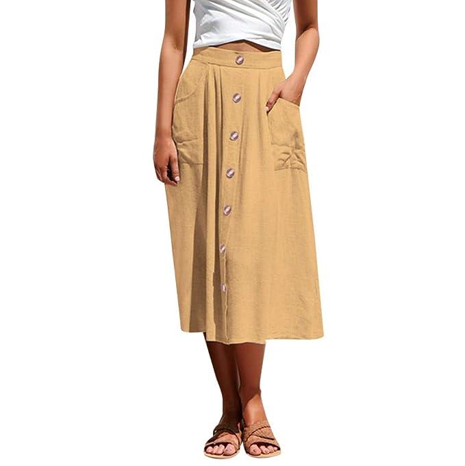 3faf4efa36 Gusspower Midi Faldas de Bolsillo con Botones para Mujer Falda Plisada  Vestido Elegante Falda Básica Mujer Sólido de Alta Cintura Elástica Bodycon  Maxi ...