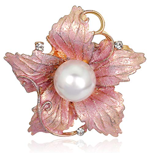 lunaluce Lovely and Elegant Striking Pink Flower Leaf White Pearl Rhinestone Brooch Necklace Use Safety Pin (PinkFlower)