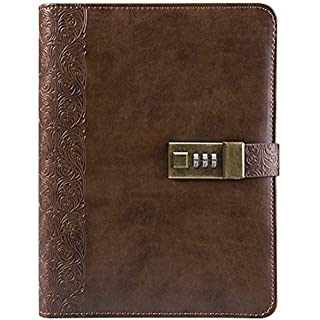 "Business Binder Journal With Combination Lock A5, 9"" X 6.7"", Excutive Diary With Passcode PU Leather Is A Refillable Leather Journal (Black Color)"