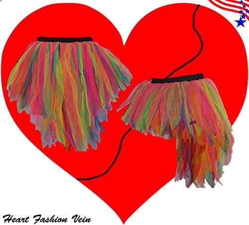 (Neon Multi Rainbow Bustle Peacock Seven Layer Trashy Tutu Skirt)
