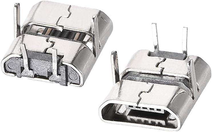 sourcing map Enchufe conector hembra para micro USB Adaptador de reemplazo DIP de 90 grados de 2 pines 30 unidades