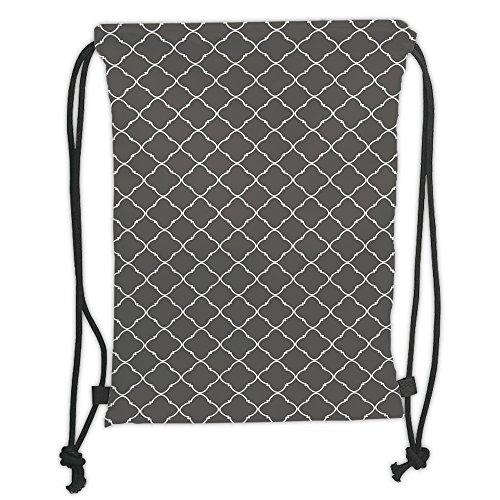 Custom Printed Drawstring Sack Backpacks Bags,Geometric,Floral Style Trellis Pattern Arabian Cultural Inspiration Curvy Motifs Decorative,Charcoal Grey White Soft Satin,5 Liter Capacity,Adjustable (Company Floral Trellis)
