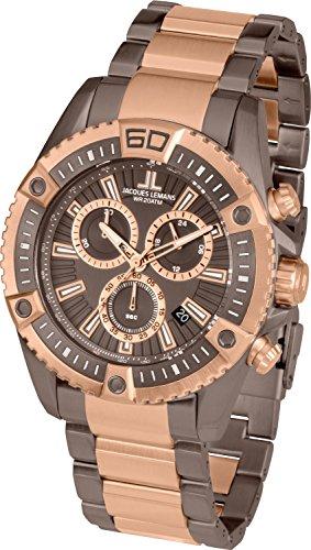 Jacques Lemans Liverpool Professional 1-1805L 46mm Two Tone Steel Bracelet & Case Mineral Men's Watch