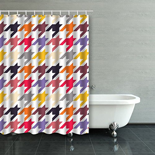Emvency Shower Curtain Waterproof Houndstooth Colorful Wallpaper Pattern Fills Cotton Sofa With Plastic Hooks Polyester Fabric Adjustable Curtain For Bathroom