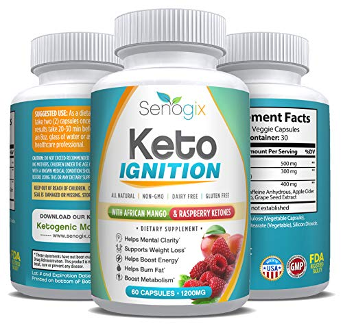 Keto Ignition - Weight Loss Diet Pills for Women & Men - Exogenous Ketones Supplement - Raspberry Ketones & African Mango - Includes Ketogenic Fat Burner Guide