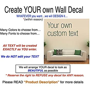 Amazoncom WallDecalsAndArt Custom Text Wall Decal  Text X - Make your own wall decal