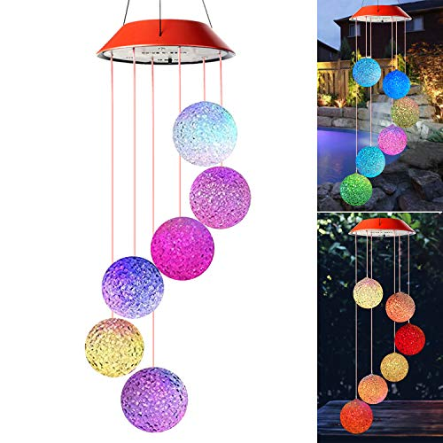 Wind Chimes Outdoor,Solar Color Changing LED Light Lamp Six Balls Mobile Romantic Wind-Bell for Home, Party, Festival Decor, Night Patio Yard Garden Decoration(Crystal - Mobile Solar