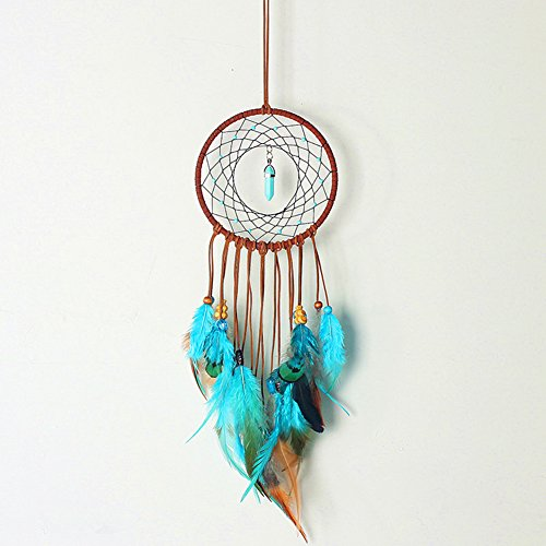 SIKEMAI Dream Catcher - Handmade Unique Turquoise Style Exquisite Feather Beaded - Indians Traditional Wall Hanging Home Decoration (Style 1)
