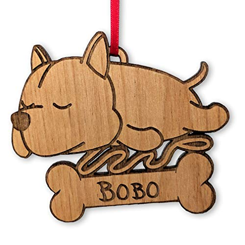 Custom Sleeping Unique Pitbull Engraved Wood Ornament Dog Lover Gift for New Pet Owner Puppies First Christmas 1st Birthday for Puppy Tree Decor Holiday Present