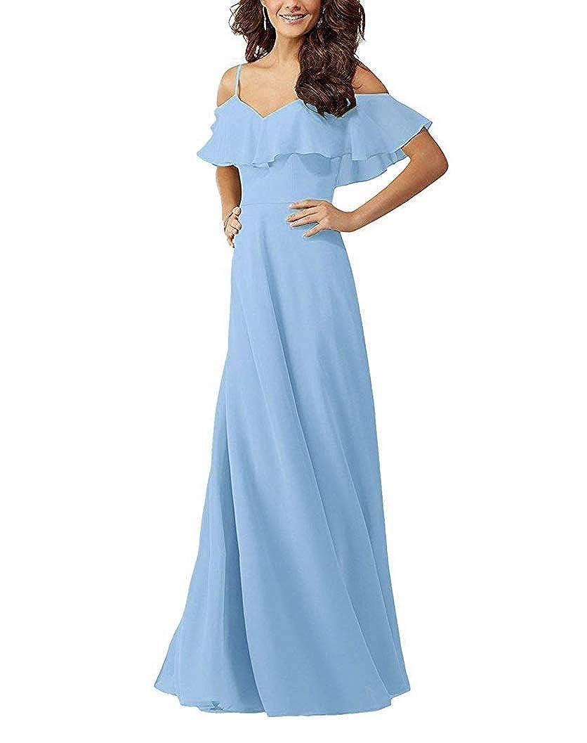 Light bluee YUSHENGSM VNeck Spaghetti Straps Bridesmaids Dresses for Wedding Long Prom Beach Skirt
