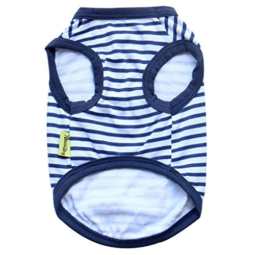 [Gotd Striped Elastic Vest T-shirt Costumes Clothes for Small Big Pet Dog (S, Navy)] (Peter Pan Dog Halloween Costumes)