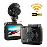 """Dash Cam Car DVR Dashboard Camera with 4K FHD 150 Degree Wide-Angle Lens, 2.4"""" LCD, Built in WiFi and GPS, Night Vision, Parking Monitoring, Loop Recording"""