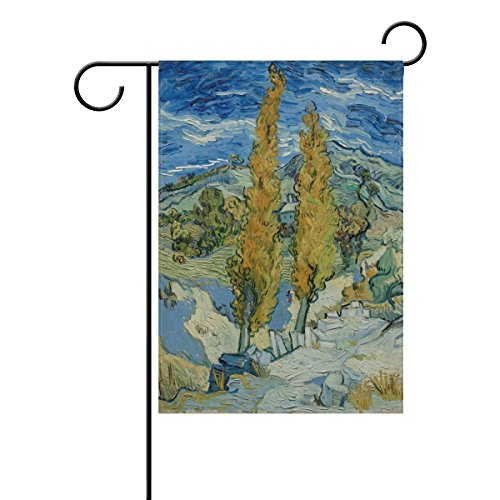Blue Viper Van Gogh Painting Two Poplars On Road Through The Hills Garden Flag Waterproof Polyester Fabric and Mildew Resistant for Outdoor Lawn and Garden Double Side Print 28 x - Garden Road City Country