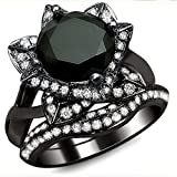Smjewels 3.00 Ct Black Round Sim.Diamond Lotus Flower Engagement Ring Set In 14K Black Gold Fn