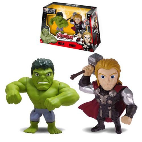 "NEW JADA AVENGERS: AGE OF ULTRON MOVIE VERSION - 4"" Metal DieCast (Die-Cast) TWIN PACK HULK & THOR Action Figures By Jada Toys"