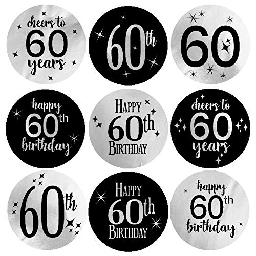 Black and Silver 60th Birthday Party Favor Labels | Shiny Foil | 180 Stickers