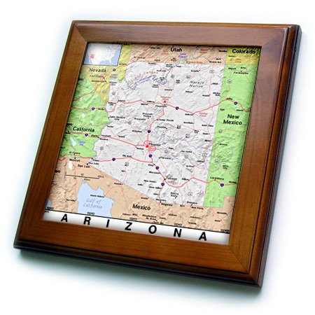 (Florene - Modern Maps - Print of Arizona Cities And State Map - 8x8 Framed Tile (ft_184554_1) )